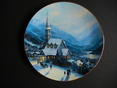 "Thomas KINKADE 8.5"" Plate ""BEACON OF FAITH"" Free Ship YULETIDE MEMORIES"