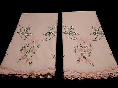 Pair VTG Hand Embroider PINK FLORAL across all of Pillowcases Crocheted Opening