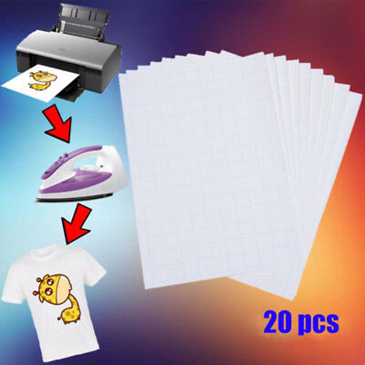 20 Sheets A4 Iron On Inkjet Print Heat Transfer Paper For T-Shirt Light Fabric