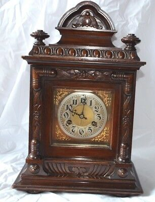 Antique German Junghans Walnut Mantle Clock With Gong
