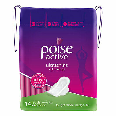NEW Poise Feminine Pads Pack Active Regular Ultrathins with Wings 14 Pack