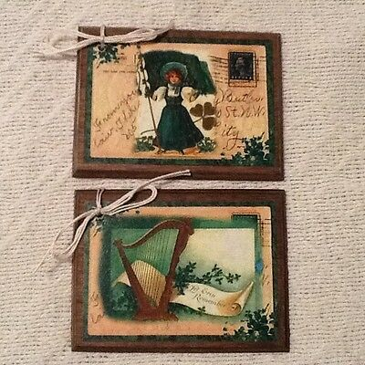 5 Handcrafted Wooden St. Patrick's Day Ornaments/Irish Hang Tags Set-uj