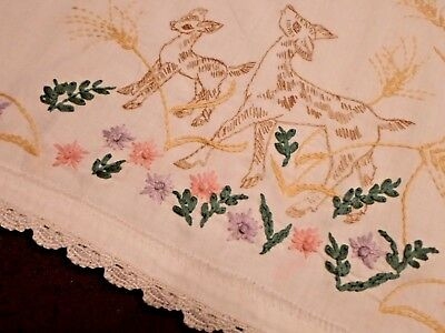 """Vintage Hand Embroidered DEER & FLOWERS Pillowcase ~ 21"""" x 29"""""""