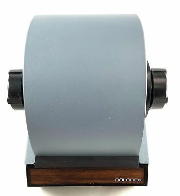 Vintage Rolodex 2254D Grey w/ Wood Grain Roll Top Index Locking Card File, NOS