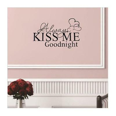 Always Kiss Me Goodnight Lettering Wall Vinyl Decal Sticker Quote Love Wall Art