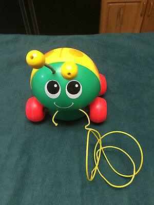 Vintage 1982 Fisher Price Toys Lady Bug Green Yellow Pull Along String Toy #695