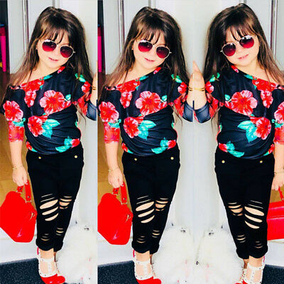 Newborn Kids Baby Girls Floral Off Shoulder Tops T-shirts Pants Outfits Clothes