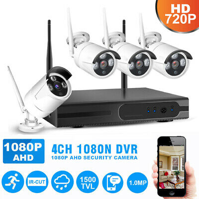 4CH 1080P NVR Wifi Wireless 720P Camera Outdoor Surveillance Security System US