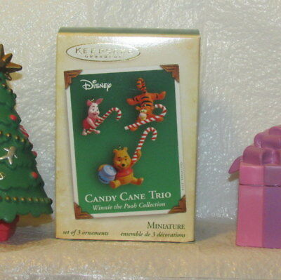 Hallmark Candy Cane Trio Miniatures Winnie the Pooh Tigger Piglet Ornaments