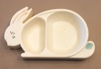 Vintage Plastic Bunny Divided Baby Dish by Bunny Products - Circa Early 1950's