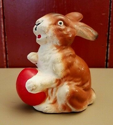 Vintage German Paper Mache Easter Rabbit Bunny With Red Easter Egg