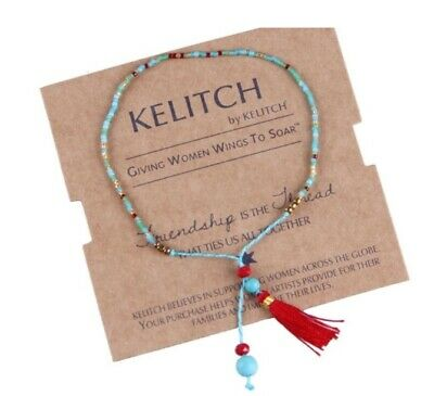 NEW Kelitch Friendship Seed Beads Bracelet with Tassel Asst Colours Great Gift