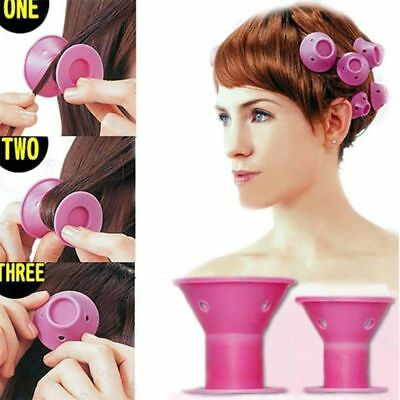 10PCS DIY Silicone Hair Curlers Set Kit Magic Soft Rollers Hair Care No Heat NEW