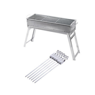 MagiDeal Barbecue Charcoal Grill BBQ Tools for Outdoor Cooking &6 Pcs Skewer
