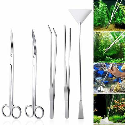 5PCS Aquarium Tools Kit Aquascaping Tank Aquatic Plant Stainless Steel Tool