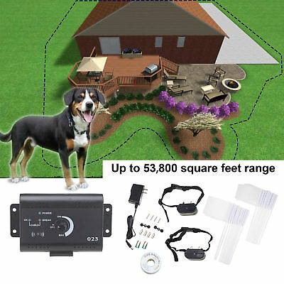 Electric Dog Fence System Water Resistant w/ 2 Shock Collars