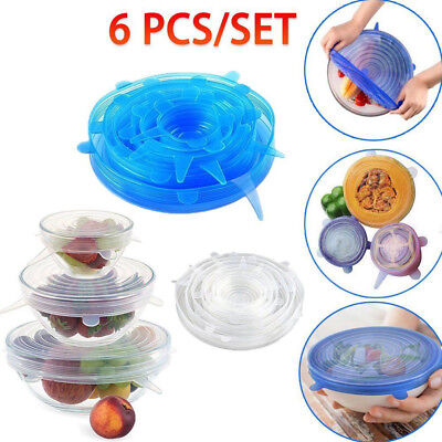 6PCS Stretch Reusable Silicone Bowl Wraps Food Saver Cover Seal Insta Lids KU