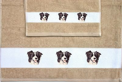 Border Collie Dog Set Of Hand And Guest Towels Sandra Coen Artist Print