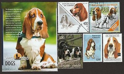 BASSET HOUND ** Int'l Dog Postage Stamp Collection ** Great Gift Idea **