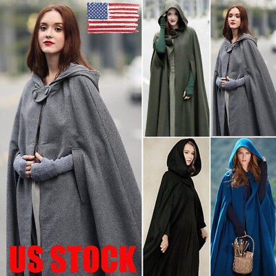 US NEW Women Warm Hooded Blend Long Cape Cloak Jacket Costume Poncho Coat