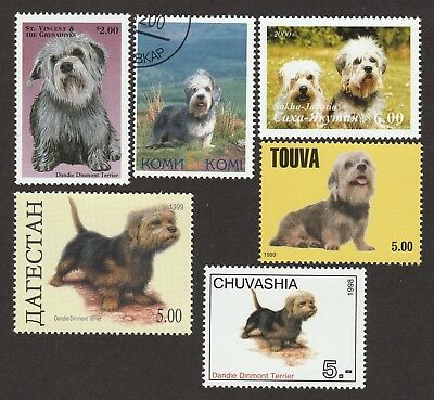 ON SALE!!  Dandie Dinmont Terrier* Int'l Dog Stamp Collection*Great Gift*