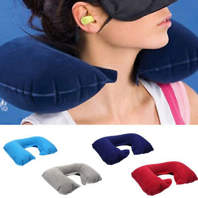Inflatable Travel Neck Pillow U-Shape Neck Support Headrest Car Flight+Eye Mask