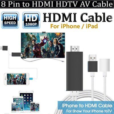 8 pin Lightning to HDMI Cable HDTV TV Digital AV Adapter fr Apple iPhone/iPad AS