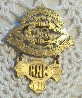 Antique KNIGHTS TEMPLAR MASONIC Drill Corps Medal ~ 19 Consecutive Drills