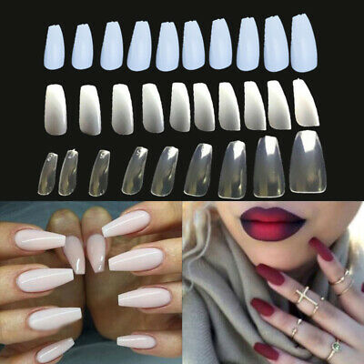600pcs Long Ballerina Coffin Shape Full Cover False Fake Nail Art Tips Extension