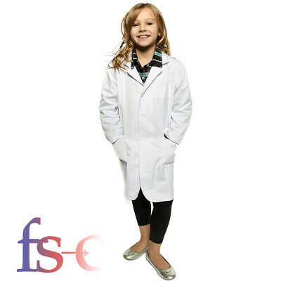 White Kids Lab Doctor Scientist Coat School Fancy Dress Costume Child Boy Girl