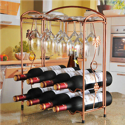 8 Bottle & 8 Goblet Wine Rack Holder Storage Organiser Display Shelf Bar 2 Tiers