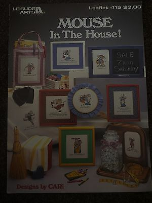 Leisure Arts - Mouse In The House - Cross Stitch Pattern Book - New