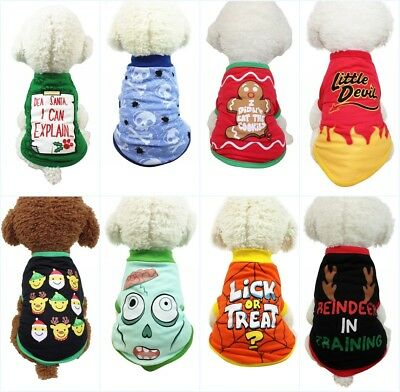 US Pet Dog Clothes Puppy Cat Hoodie Coat Winter Warm Sweater Costume