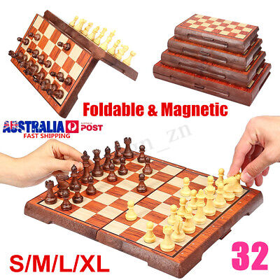 Large Chess Travel Wooden Set Folding Chessboard Magnetic Pieces Board Craft