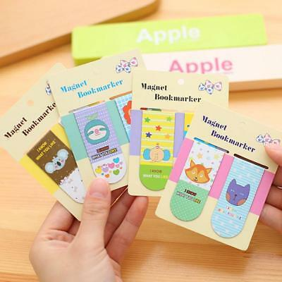 2pcs Metal Magnet Bookmarks Cute Cartoon Memo Note Book Marker Stationery TOP