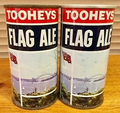 Tooheys Flag Ale. 13-1/3FL.OZ. Flat Top & Ring Pull. Steel Beer Cans. x 2