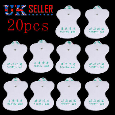 20pcs LARGE ELECTRODE PADS Reusable For Tens Machines Digital Therapy Massage UK