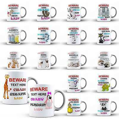 Personalised Mug Crazy Lady Woman Girl Mum Coffee Tea Cup Animal Novelty Gift