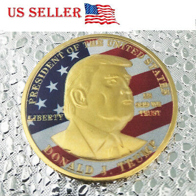 1PC US President Donald Trump Shiny Gold Coin with colour flag Collectible 45th