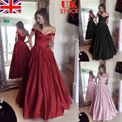 UK Women Off Shoulder Maxi Dress Evening Party Long Swing Dress Wedding Gown