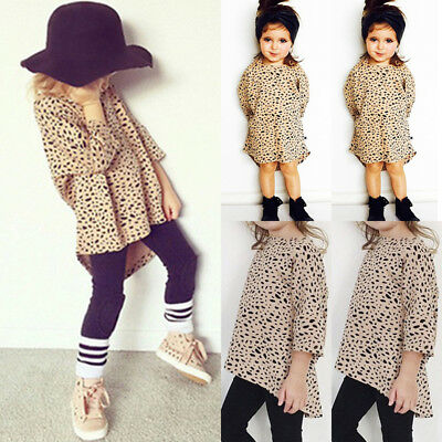 Fashion Toddler Kid Baby Girl Leopard Print Long Sleeve Top T-Shirt Party Dress