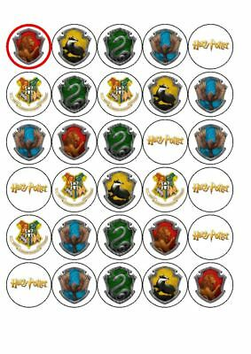 30 Harry Potter  | Hogwarts Birthday Party Cupcake Toppers 3.8Cm Round
