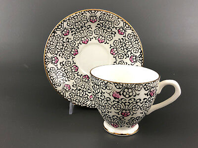 English Castle, bone china cup & saucer, Staffordshire England black white pink