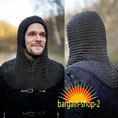Chain Mail Coif round Riveted with Flat Washer Coif 9 mm,Medieval Hood-OIL