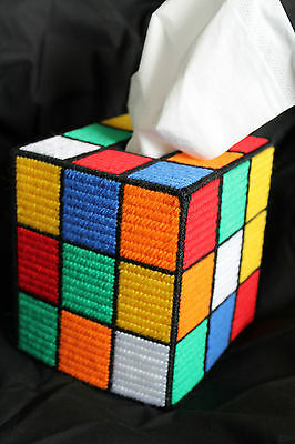 """Tapestry RUBIKS CUBE Design Tissue Box Cover """"Unsolved!"""" - Unique - Handmade"""
