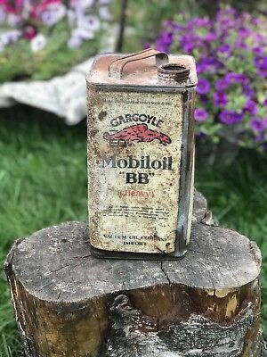 "Rare Gargoyle  Mobiloil  ""BB"" Heavy ( S.A.E No 50 ) One Gallon Oil Can"