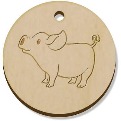 11 x 34mm 'Cute Piglet' Wooden Pendants / Charms (PN00027123)