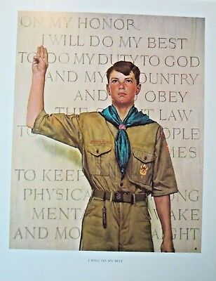 VTG Norman Rockwell BSA Boy Scouts of America Art Print I Will Do My Best  EX