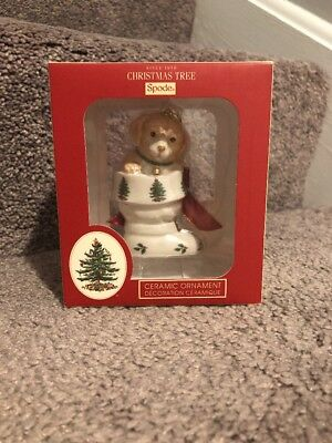 Spode Christmas Tree Motif Ornament Puppy in Boot Home Décor Holiday  4036647