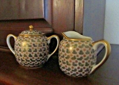 Vintage Japanese Creamer And Covered Sugar Bowl White Flowers-Gold-Green